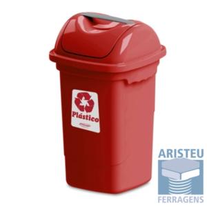 Lixeira cor vermelho para plástico